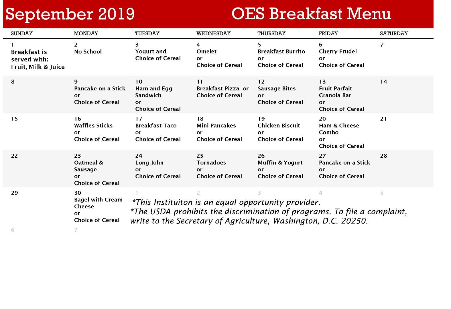 Decatur Community Schools - OES Breakfast Menu - September